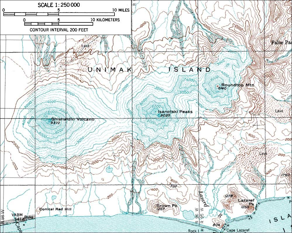 Shishaldin , Isanotski and Roundtop - Map U.S. Geological Survey Andalkar Amar / AVO - USGS