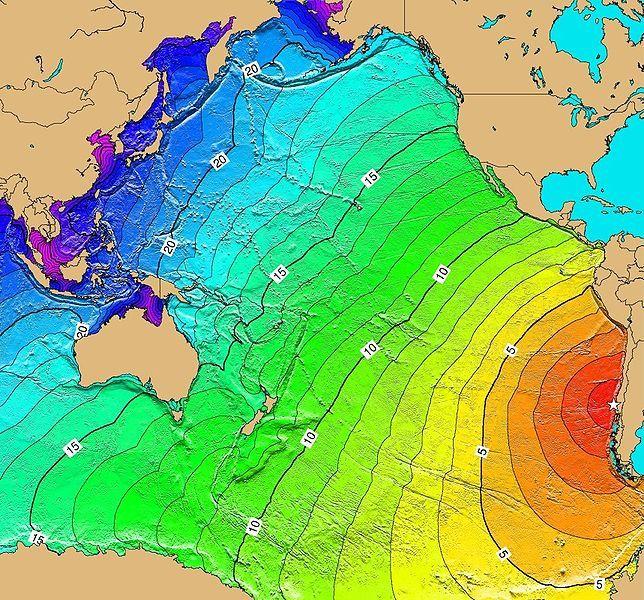 Travel time of the main earthquake tsunami consecutive Valdivia - doc NOAA