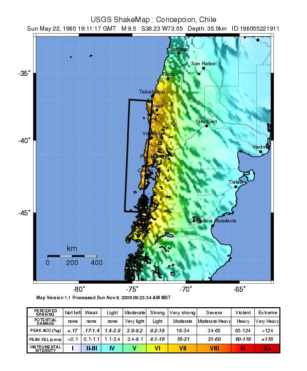 Valdivia earthquake of 05/22/1960 - M9, 5 - Scale of felt - doc . USGS