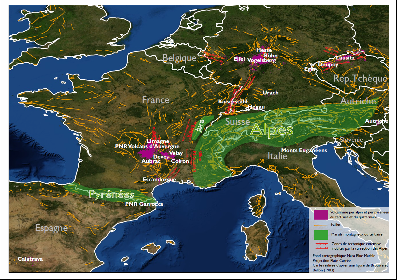 Le volcanisme péri-alpin tertiare (violet) - zones de tectoniques extensive induites par la surrection des Alpes (rouge hachuré) - doc. d'après Brousse & Bellon / Aurelienb