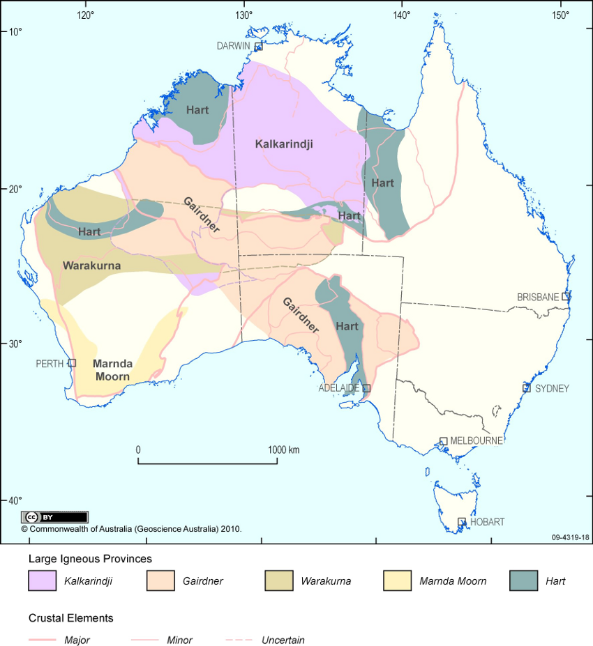 Australian 's LIP (Large Igneous Province) - doc.Geosciences Autralia 2010 (legend by following this link : http://www.largeigneousprovinces.org/10oct )