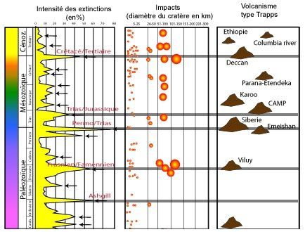 Extinctions intensity -  influence of meteorite impacts and LIP 's ( Large Igneous Provinces ) .