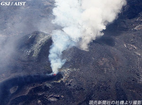 Nishino-shima - the lava is conducted in a tube - overview of 03/06/2014 / doc GSJ - AIST