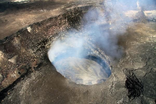 Kilauea - Crater Overlook 06/06/2014 - a slight degassing lets see the edges of the crater and the lava lake -. USGS-HVO Photo