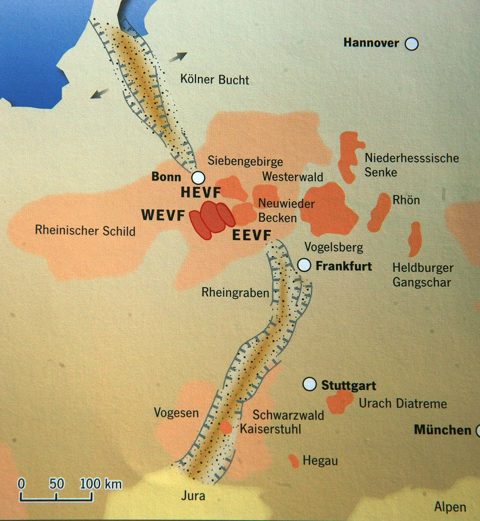 "Volcanic fields in central-western Europe: in the vicinity of Frankfurt, the Vogelsberg and Rhön - Eifel is referred WEVF (West Eifel volcanic field) HEVF (Hocheifel VF) EEVF (East Eifel VF) - map in ""Volcanism"" / H.U.Schmincke."