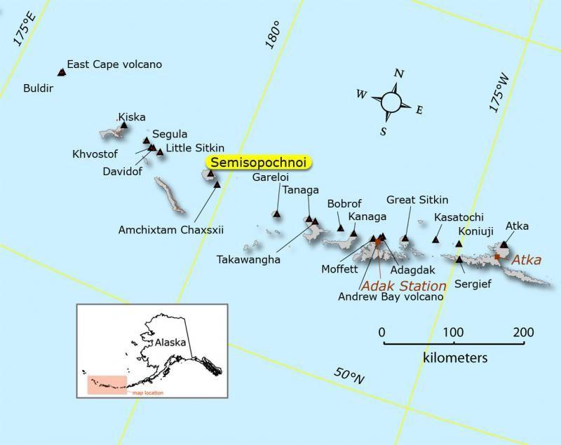 Localisation du Semisopochnoi  - Carte Schaefer, Janet / AVO