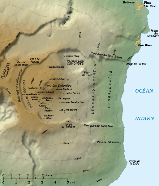 Topographic map of Piton de la Fournaise - location of craters Dolomieu and Langlois