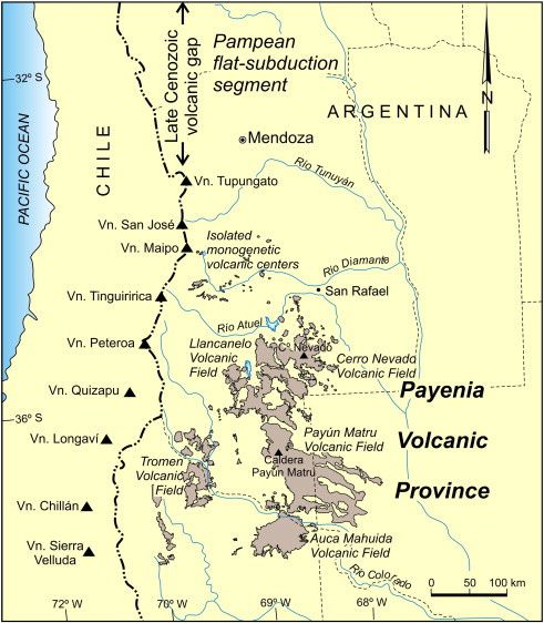 Location of Tromen and Auca Mahuida volcanic fields - doc.Andean volcanism