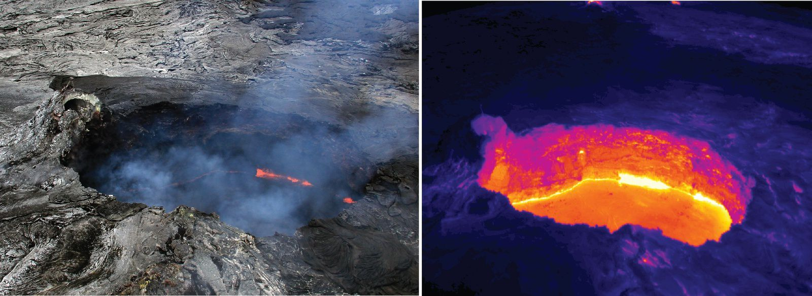 Pu'u O'o / 06.27.2014 - withdrawal of magma and lower level of the lava in the crater; the crater widened subsequent to the partial collapse cones - photos HVO