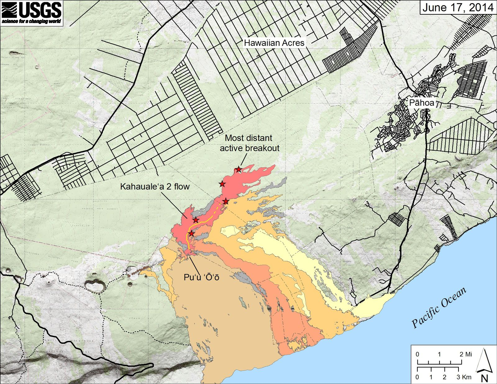 "Map of exit points on the Kahauale""a 2 lava flow / East Rift Zone - doc HVO 06/17/2014"
