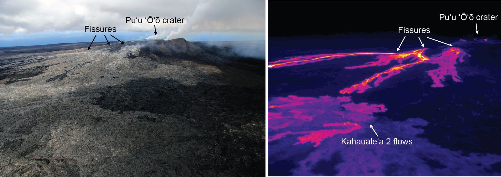 "Distribution of activity around the Pu'u O'o / 06.27.2014 - outflows of lava through the cracks overlap partially the Kahauale""a 2 flow - photos HVO"