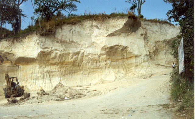 Deposits of Tierra Blanca Joven eruption in a quarry near Cojutepeque, 9 km ENE of the Ilopango caldera - Photo Giuseppina Kysar, 1999 (Smithsonian Institution)