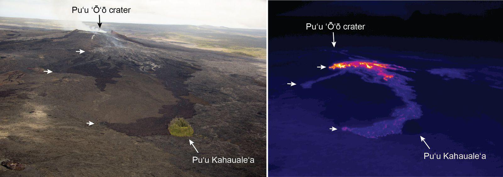 Kilauea  / Pu'u O'o - Coulées de lave le 30.06.2014 - photos HVO