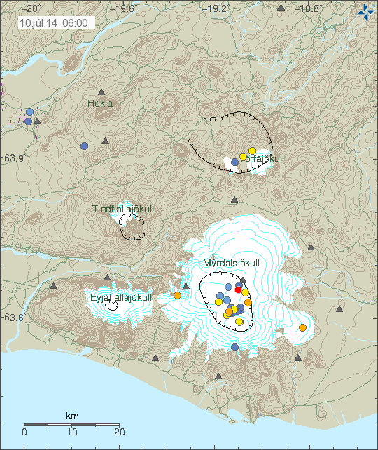 Seismicity in the region of Myrdalsjökull - Time and magnitude of earthquake 10 Jul 6:00 GMT / IMO