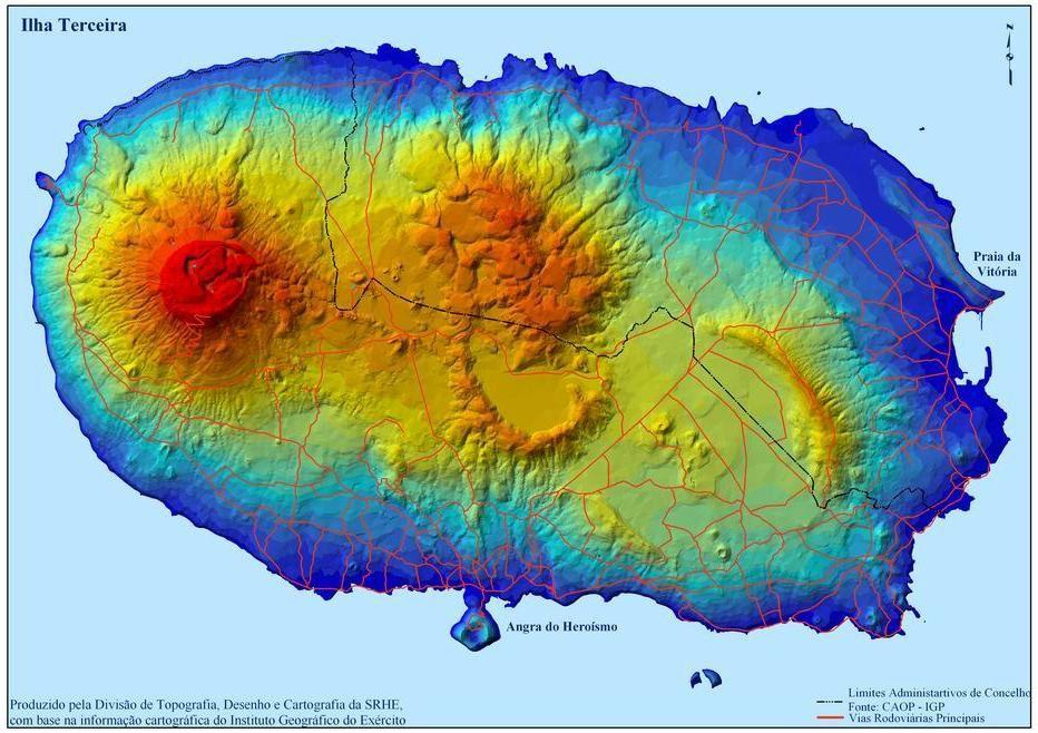Terceira /Açores - carte des différents massifs volcaniques et des coulées trachytiques ouest et nord - doc. Instituto Geografico