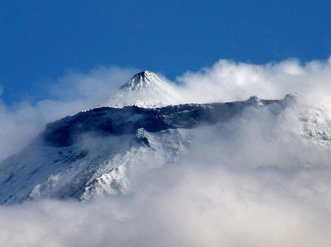 Pico / Azores - the top of the Montanha do Pico, with the Pico Piquinho and snowy high slopes