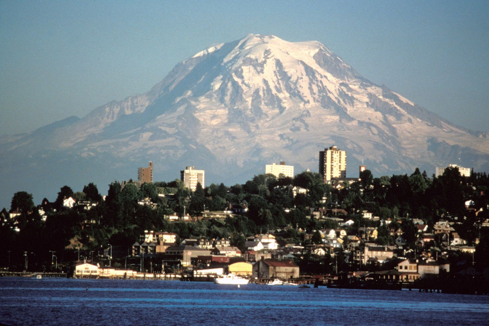 Mt Rainier overlooking the city of Tacoma