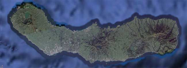 São Miguel and the location of its caldera (map VolcanoWorld / Oregonstate.)