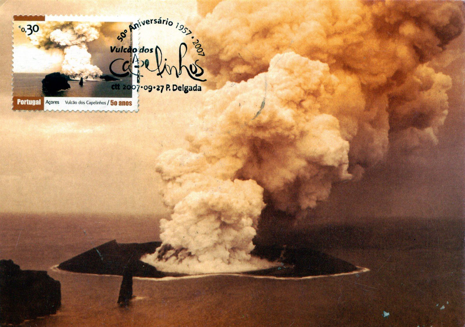 Stamp and commemorative plate from the eruption of Capelinhos 1957 - 2007 issue