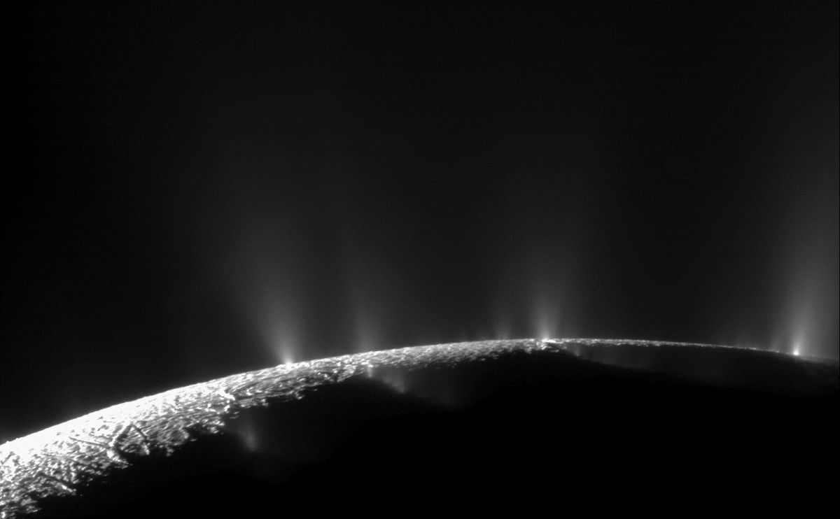 "Enceladus - a survey in 2009 by Cassini revealed plumes of water vapor and ice along the ""tiger stripes"" near the south pole located."
