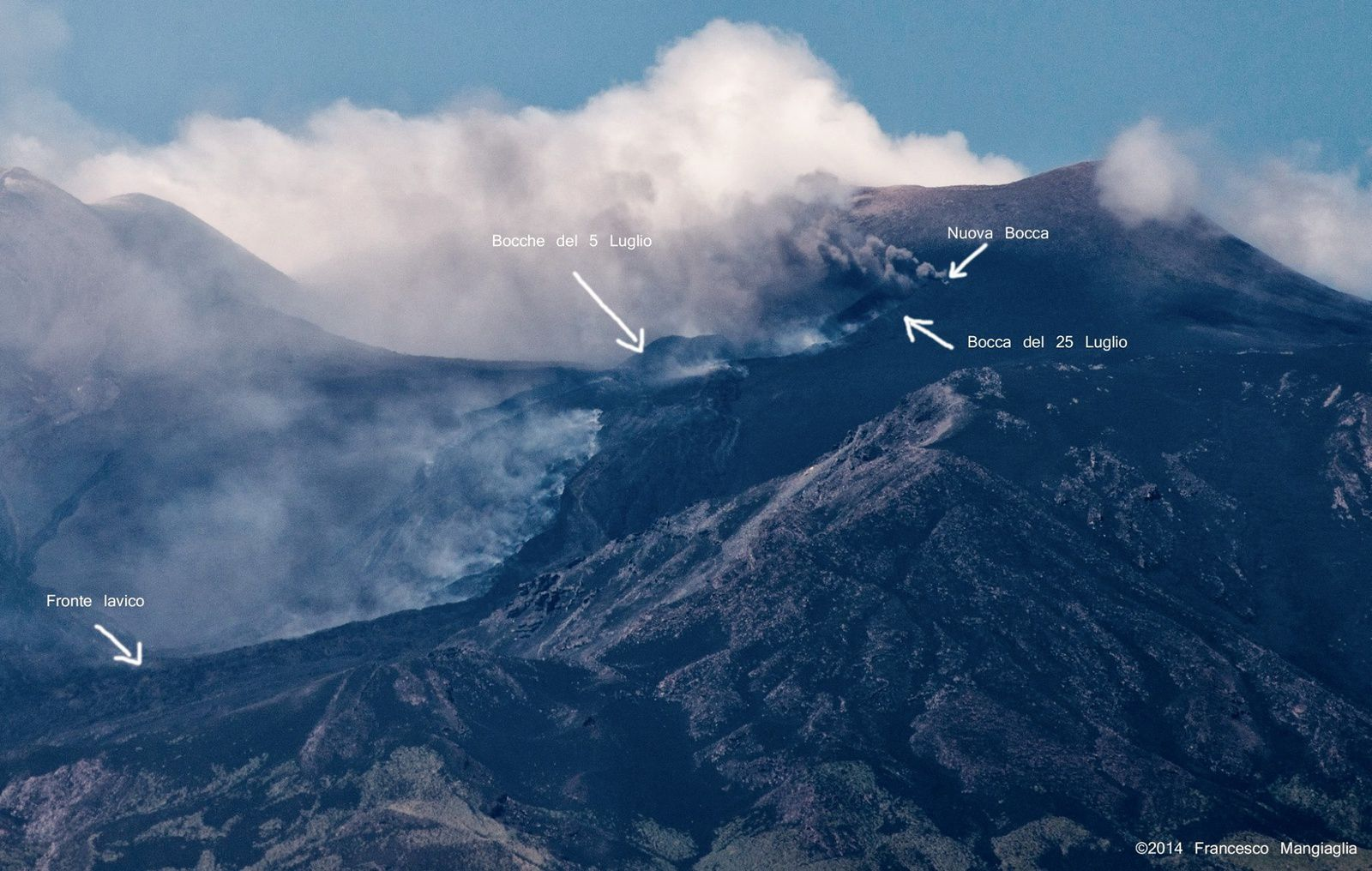 Etna - progression of the eruptive fissure vents, with position on 5 and 25 July, and the new mouth - photo Francesco Mangiaglia / annotation via iEtna