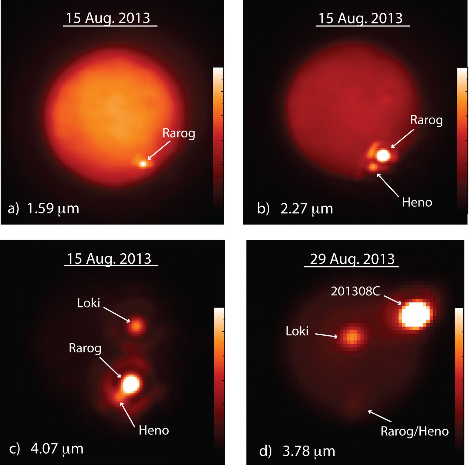 Images des éruptions entre le 15 et le 29 août sur Io / Images of Io obtained at different infrared wavelengths (in microns, μm, or millionths of a meter) with the W. M. Keck Observatory's 10-meter Keck II telescope on Aug. 15, 2013 (a-c) and the Gemini North telescope on Aug. 29, 2013 (d). The bar on the right of each image indicates the intensity of the infrared emission. Note that emissions from the large volcanic outbursts on Aug. 15 at Rarog and Heno Paterae have substantially faded by Aug. 29. A second bright spot is visible to the north of the Rarog and Heno eruptions in c and to the west of the outburst in d. This hot spot was identified as Loki Patera, a lava lake that appeared to be particularly active at the same time. Image by Imke de Pater and Katherine de Kleer, UC Berkeley.