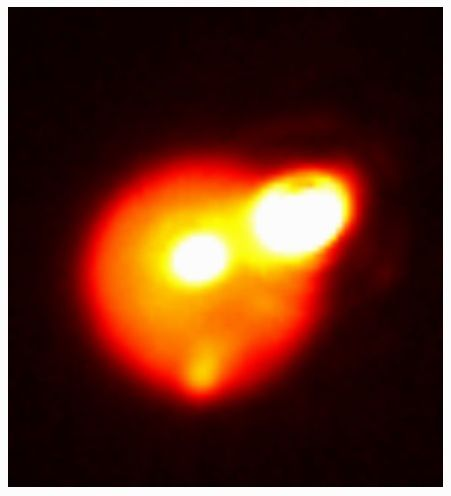 The Aug. 29, 2013, outburst on Io was among the largest ever observed on the most volcanically active body in the solar system. Infrared image taken by Gemini North telescope, courtesy of Katherine de Kleer, UC Berkeley.