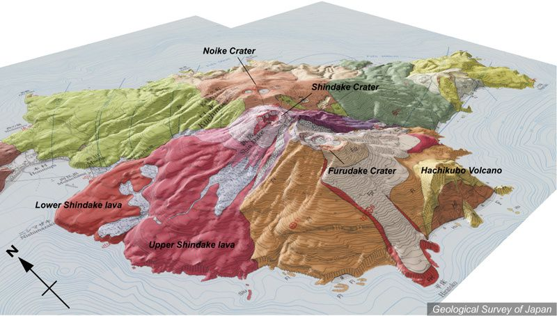 Kuchinoerabu-jima - les cratères les plus récents et leurs coulées - doc.Geological Survey of Japan