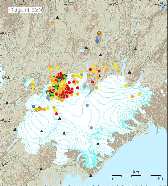 Vatnajökull - localisation des séismes le 17.08.2014 à 6h30 - horaire et magnitude des séismes - doc. IMO