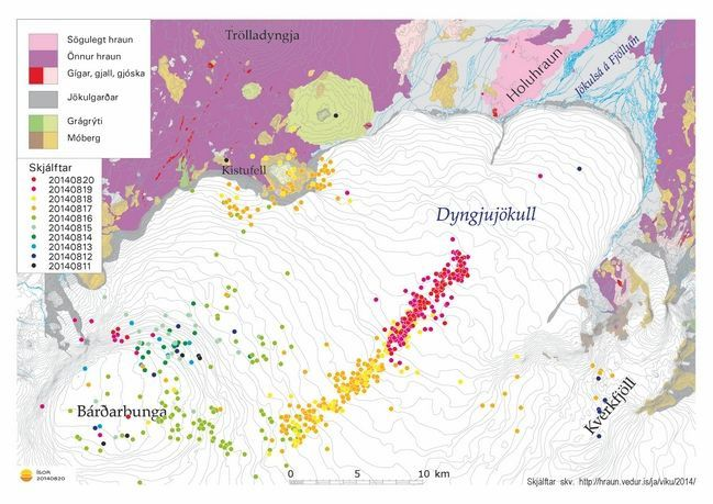 Earthquakes from 11 to 20.08.2014 in the northern part of Vatnajökull - Doc. http://hraun.vedur.is