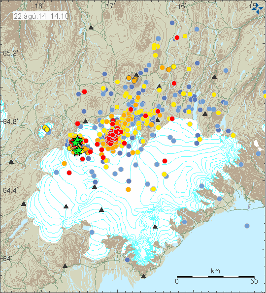 Earthquakes in the area of Vatnajökull on 22/08/2014 at 14:10 - the green stars indicate earthquakes of magnitude> 3 - Doc. IMO