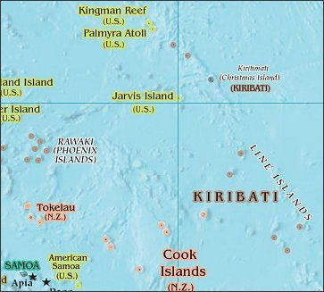 Location of Jarvis Island in the South Pacific