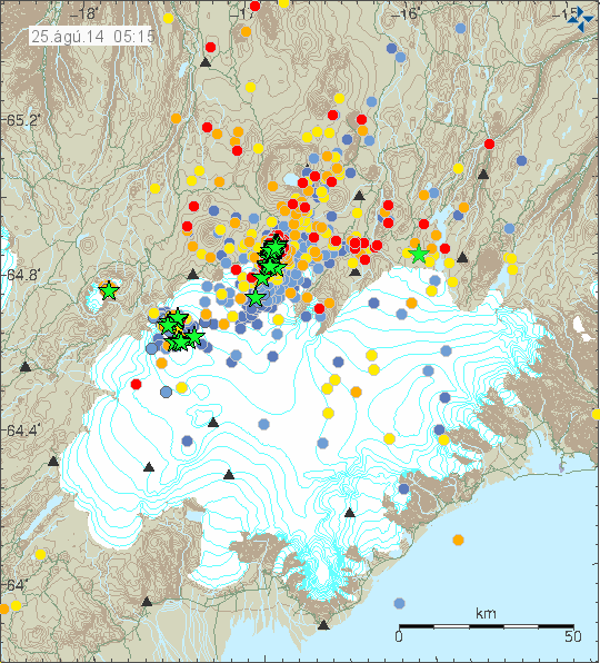 Position and intensity of earthquakes on 25/08/2014 at 5:15 am - the earthquakes of M> 3 are indicated by green stars - Doc. IMO