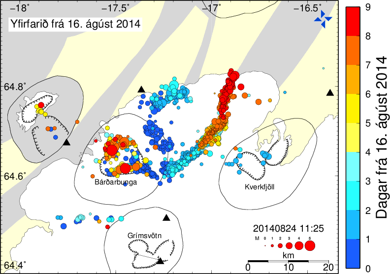 Position of earthquakes from 16 to 08/24/2014 (for a total of more than 8,000 earthquakes in this period according to IMO) red dots represents the most recent seismic activity, blue dots the oldest - and progress of the dyke towards N - doc.mbl.is / IMO