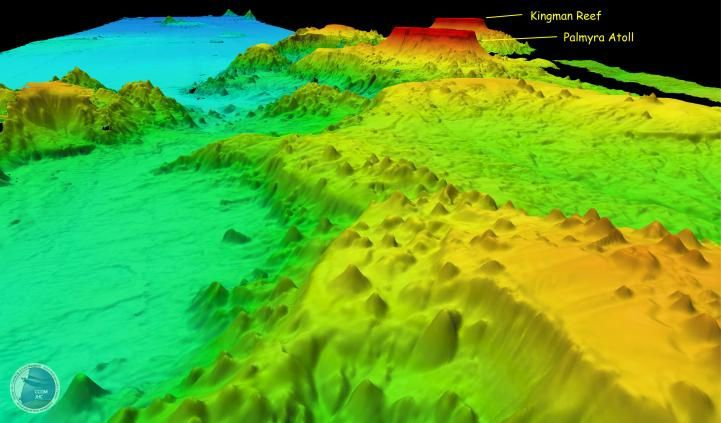 Kingman Reef & Palmyra - 3D image / Center for coastal and ocean mapping / Joint Hydrographic Center - Line islands