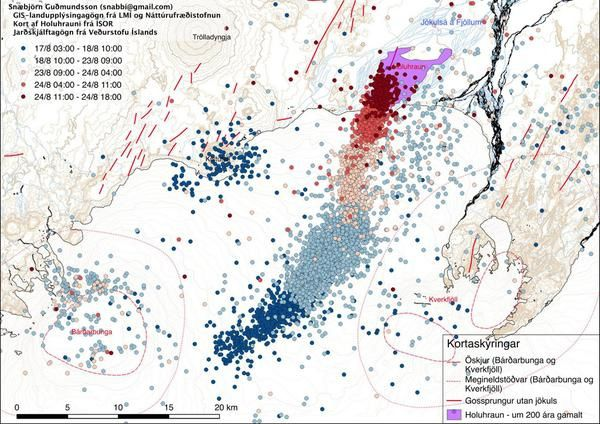 Seismicity of the previous days and position of Holuhraun, N of Dyngjujökull - doc Gudmundson / Univ of Iceland