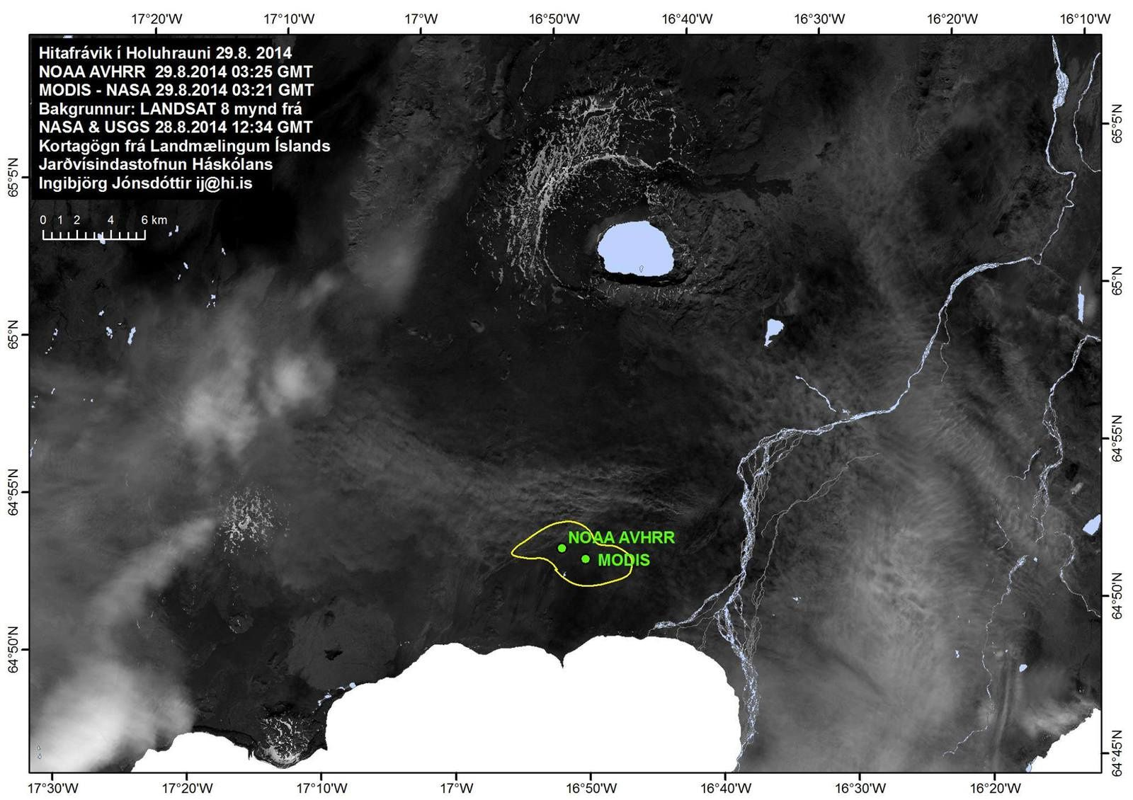 Position de la fissure éruptive - Location of the eruption in Holuhraun.-  Picture from the University of Iceland.