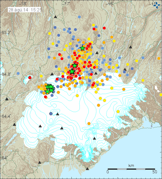Position and intensity of earthquakes on 08/28/2014 at 15:25 - Doc. IMO