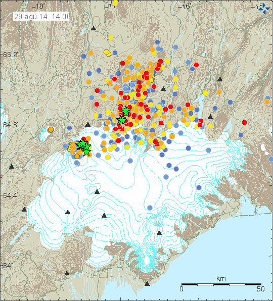 Location and magnitude of earthquakes striking northern Vatnajökull 29.08.2014 / 14h00 - Doc. IMO