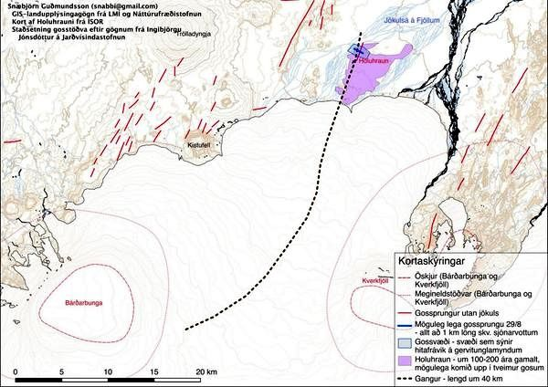 Location of the eruptive fissure in the lava field Holuhraun - Doc. Gudmundsson / University of Iceland / Twitter