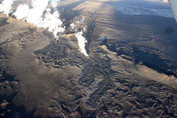 The lava field of the fissure eruption 08/29/2014 - photo Ómar Ragnarsson / RUV