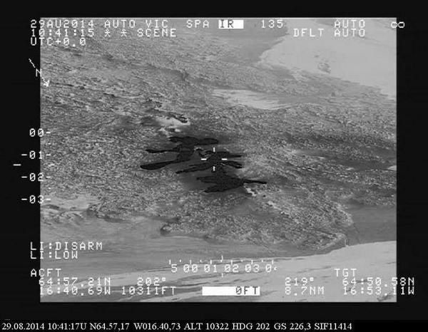 Holuhraun - the new lava field of 8/29/2014 viewed by TF-SIF.- Credit Icelandic Coast Guard