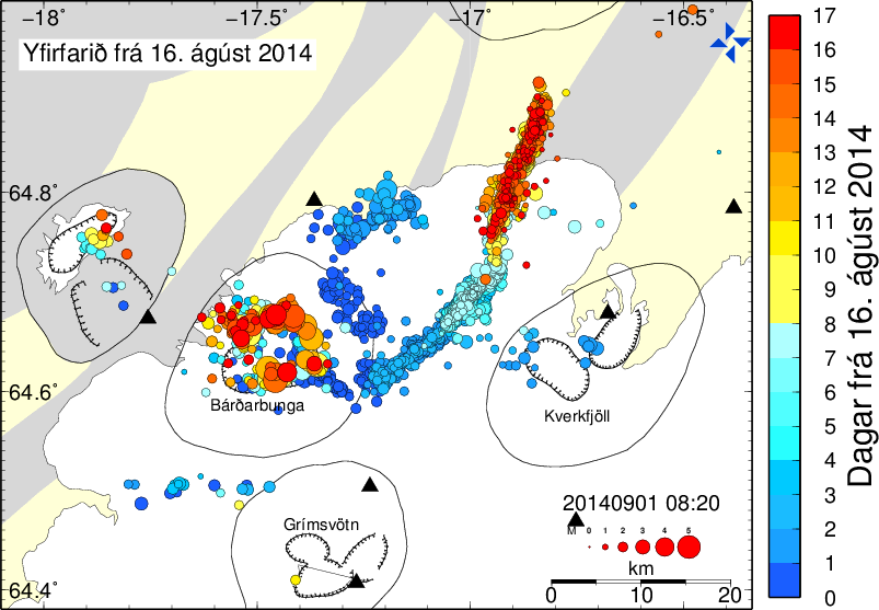 Earthquake location on Bardarbunga-Holuhraun region between 16.08 and 09.01.2014 - the most recent earthquakes in red / see colorful daily scale margin - map IMO