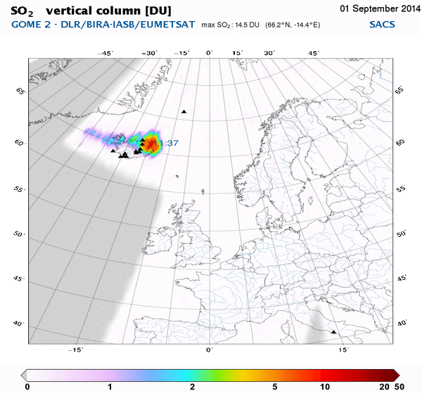 2014.09.01 - the SO2 plume detected by GOME-2 satellite - Doc. via Dr Anja Schmidt