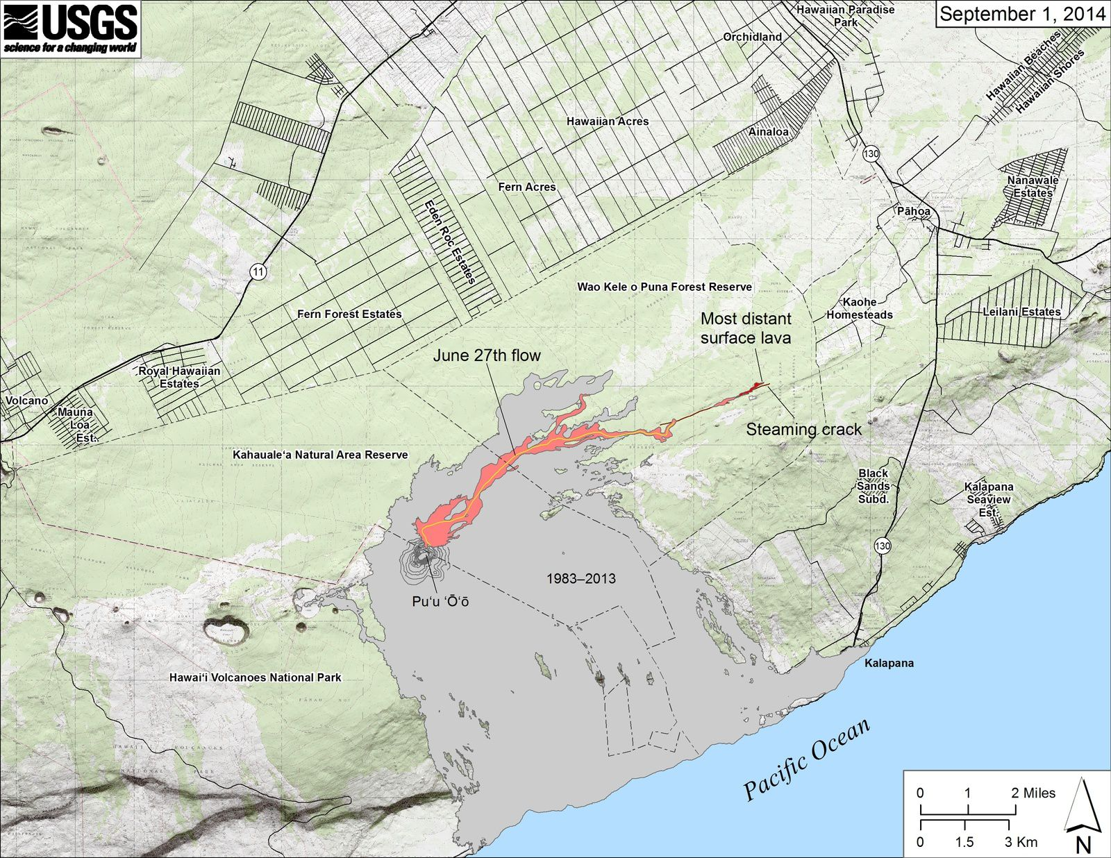 "Map of the progression of the Flow of June 27 - expanding by one click, you can see, as in the photo at the top of the article, the ""smoking"" crack has exceeded the level of casting surface.- map HVO / USGS"