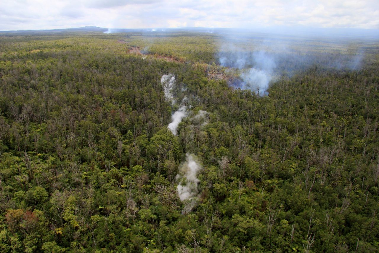 In the background, the Pu'u O'o - in the center of the photo, steam from the subterranean lava flow, almost straight - on the right progression of the lava in surface, as evidenced by bushfires and the drag behind - photo HVO / USGS