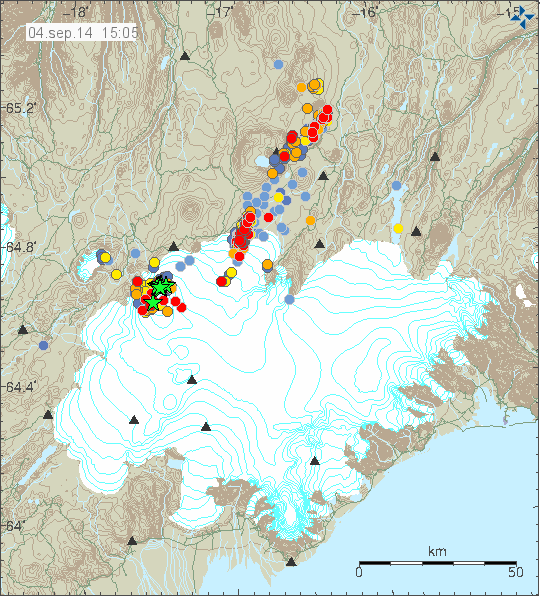 Location and magnitude of earthquakes in northern Vatrnajökull the 04.09.2014 / 15:05 - Doc. IMO