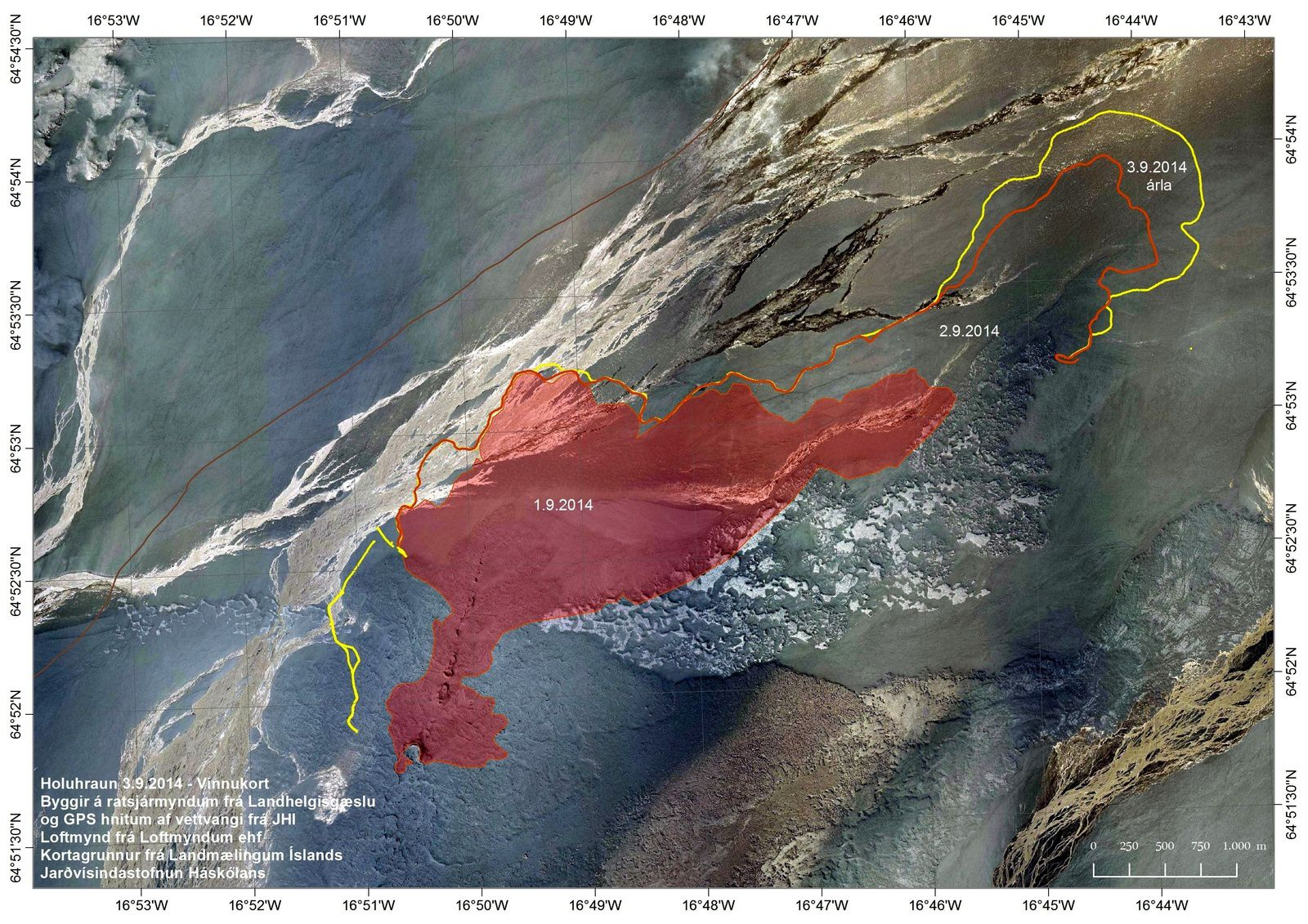 Extension of the lava field in Holuhraun with dates - map IMO