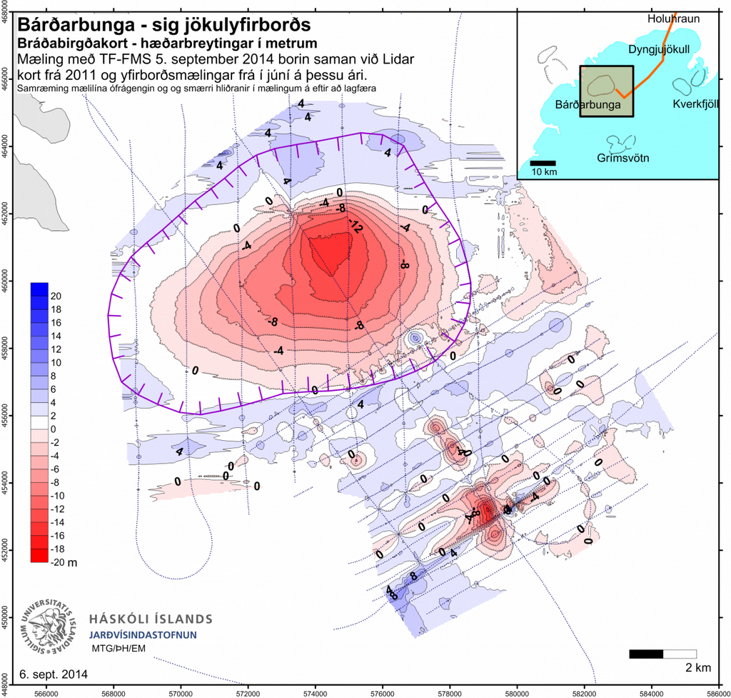 Bárðarbunga. Subsidence of the glacier surface (m). A comparison of the measurement of TF-FMS yesterday and a Lidar map from 2011 as well as surface measurements from June this year. Institute of the Earth Sciences, University of Iceland.