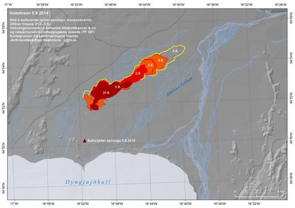 Extension of the lava field with dates - Doc. University of Iceland